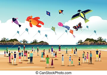 People Flying Kites at the Kite Festival