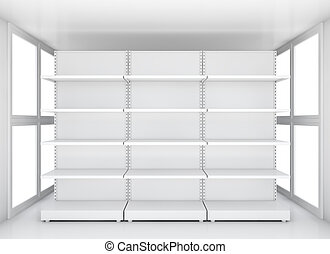 Exhibition space, Empty retail shelves. 3D illustration