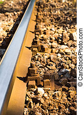 Close up view of steel railroad track