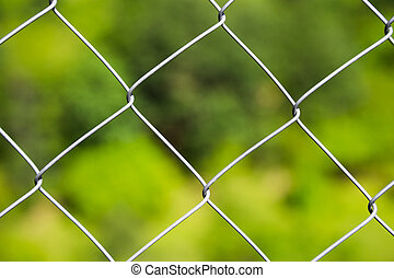 Detail of a diamond mesh wire fence