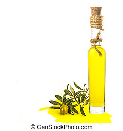 Olive oil glass bottle isolated - Extra virgin olive oil...