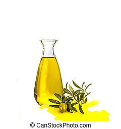 Extra virgin olive oil glass bottle isolated - Extra virgin...