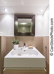 Beauty and functionality in bathroom - Bathroom with glossy...