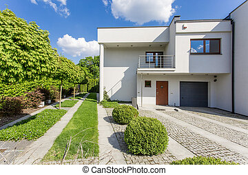 Modern villa with perfect lawn - Image of new style white...