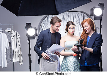Successful glamour session in a professional studio - Young...