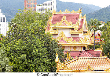 Dhamikarama Burmese Temple in Penang, Malaysia - Detail from...