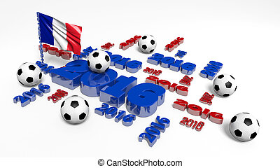Football 2016 design with French Flag and Balls