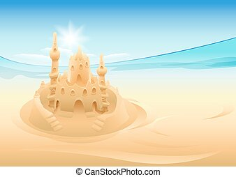 Sand castle. Summer holidays at sea. Illustration in vector...