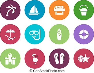 Beach circle icons on white background. Vector illustration.