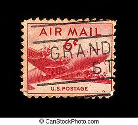 airliner Douglas DC-4 Skymaster - USA - CIRCA 1949: a stamp...