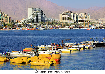 luxurious hotels in popular resort - Eilat, Israel - views...