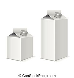 Paper milk and juice product tetra pack containers vector mockups set