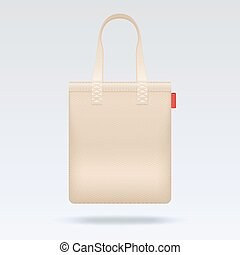 Blank white tote shopping bag vector template Bag for...