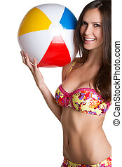 Bikini Girl - Beautiful bikini girl holding beach ball
