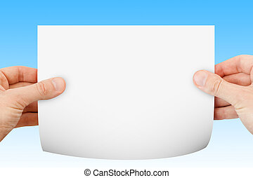blank paper background in hand