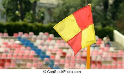 Soccer corner flag on the stadium