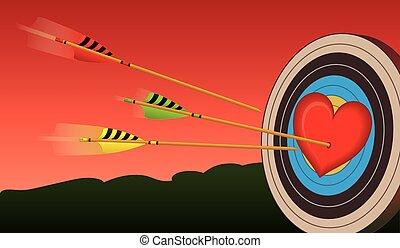 archery arrows on heart target - heart on archery target...
