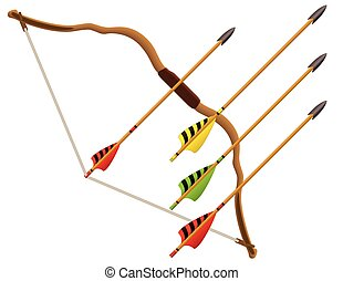 archery bow and arrows - set of archery arrows with bow