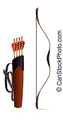 archery bow and quiver - quiver with set of arrows and bow