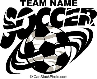soccer team design with ball for school, college or league