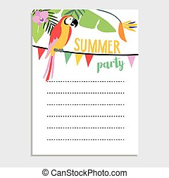 Summer jungle greeting card, invitation. Parrot bird, palm leaves, strelitzia flowers. Party flags.Web banner, background.