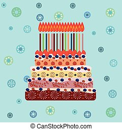 Birthday cake with sixteen candles Sixteen years A cake with...
