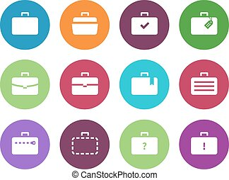 Case circle icons Traveling bags and luggage Vector...