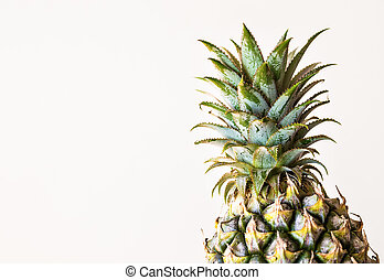 top of fresh pineapple on white background.
