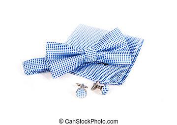 Bow tie, handkerchief and cufflinks Wedding accessories...