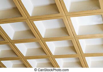 Concrete ceiling of square blocks - Modern white concrete...