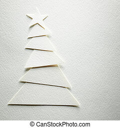 Cristmas tree paper cutting design cardWhite background