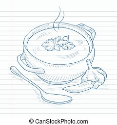 Pot of hot soup Soup hand drawn on notebook paper in line...