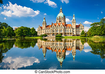 City Hall of Hannover, Germany with reflection in a lake