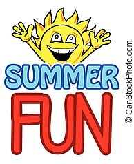 Summer Fun - Illustration of a happy sun waving arms