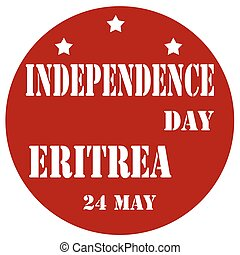 Independence Day Eritrea - Red label with text Independence...