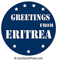 Greetings From Eritrea - Blue label with text Greetings From...