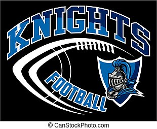 knights football team design with mascot head inside shield...