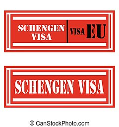 Schengen Visa-stamps - Set of stamps with text Schengen...