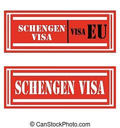 Schengen Visa-stamps - Set of stamps with text Schengen...