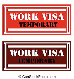 Work Visa-stamps - Stamps with text Work...