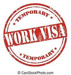 Work Visa-stamp - Grunge rubber stamp with text Work...