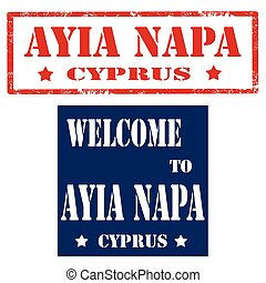 Ayia Napa-Cyprus - Set of stamps with text Ayia...
