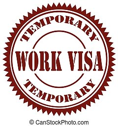 Work Visa-stamp - Stamps with text Work...