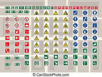 Set of pictograms for cards and city schemes