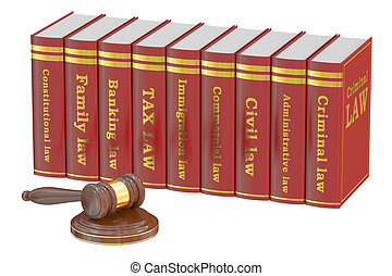 Wooden Gavel and Law Books, 3D rendering