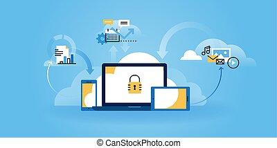 Internet security - Flat line design website banner of...