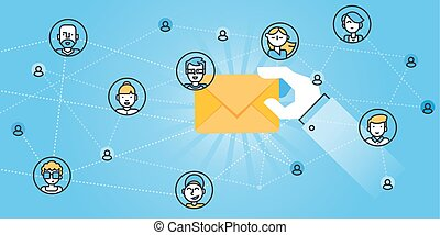 E-mail services - Flat line design website banner of e-mail...