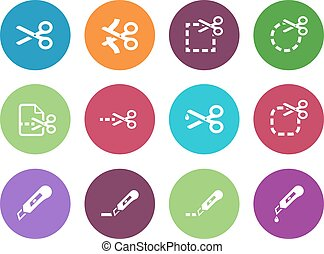 Scissors with cut lines icons Vector illustration