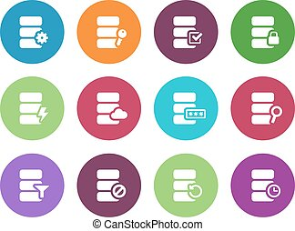 Database circle icons on white background. Vector...