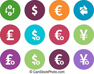 Exchange Rate circle icons on white background Vector...